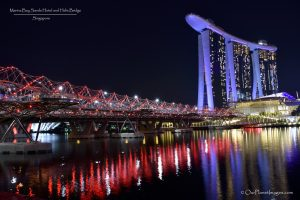Marina Bay Sands Hotel and Helix Bridge with Reflection