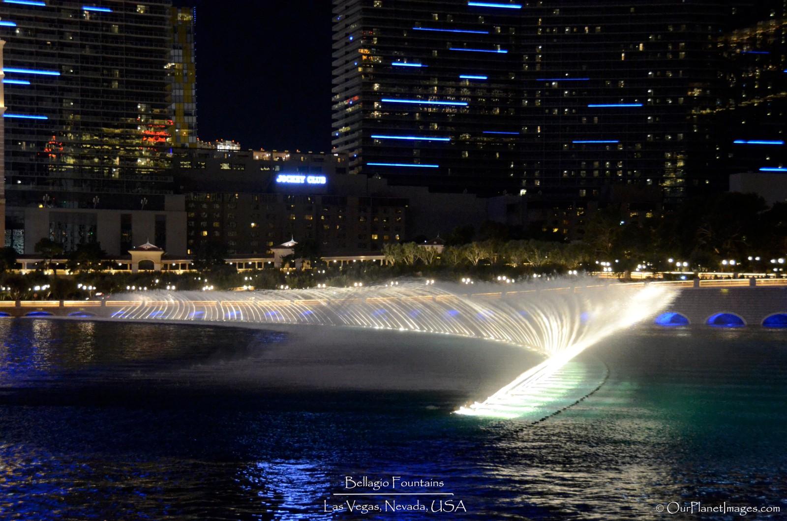 Side view Bellagio fountain show angle